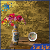 Chinese classic magnificent printing teahouse restaurant decorate vinyl wallcovering