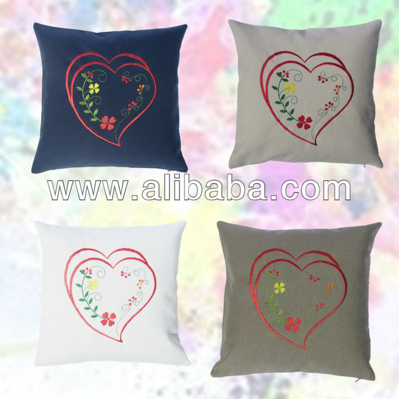Embroidered cushion cover with traditional Portuguese embroideries