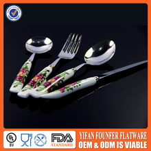 Flower handle Desert fork with porcelain handle