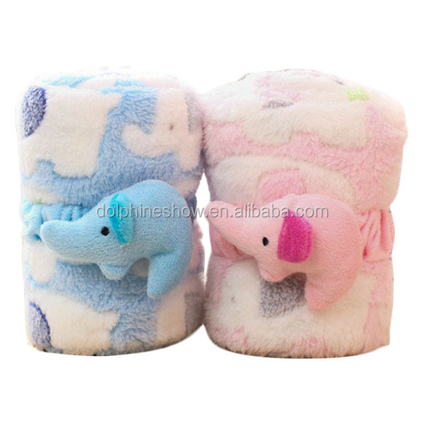 Animal Terry Towel Blanket Baby Hooded Cartoon Elephant Blanket For Kids
