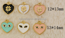 2015 New design special heart shape pendant with charming eyes,four leaf clover