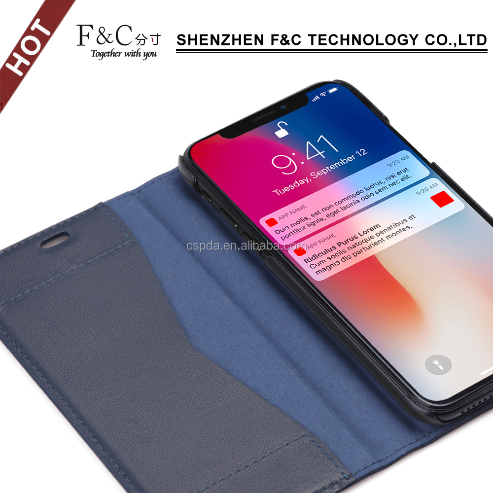 Genuine leather cowhide folio stand case with card holder for iphone 8/X
