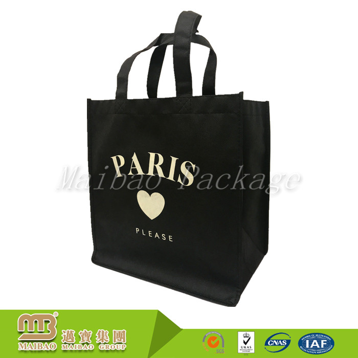 Simple Style Custom Logo Print Extra Large Non Woven Black Shopping Tote Bag