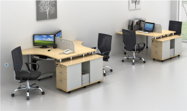 Eckschreibtisch für 2 personen  Open furniture office workstation panel system GF007-2B, View ...