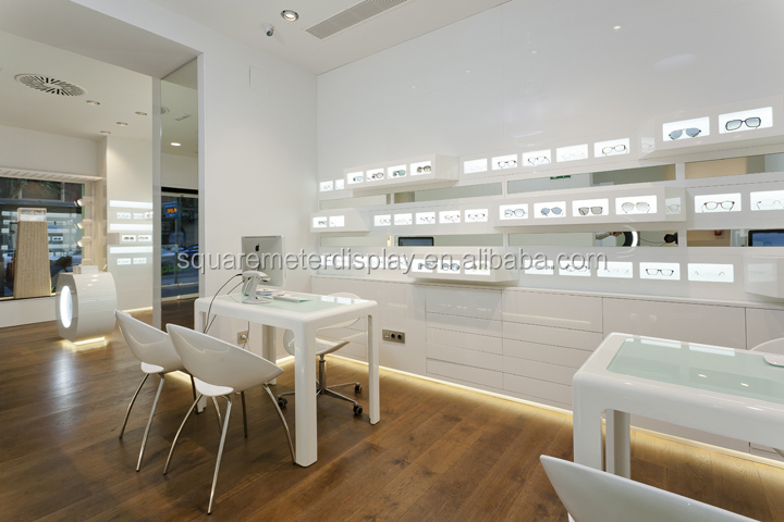 High end Eyeglass shop display wall shelf with led strip on alibaba store
