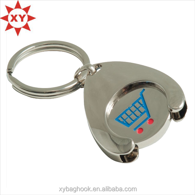 Zinc alloy trolley coins printed logo for promotion item