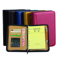 Customized pu leather pocket notebook calculator with pen