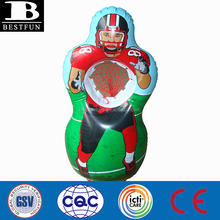 Promotional custom inflatable American football player stand target toss portable rugby target toss game inflatable football thr
