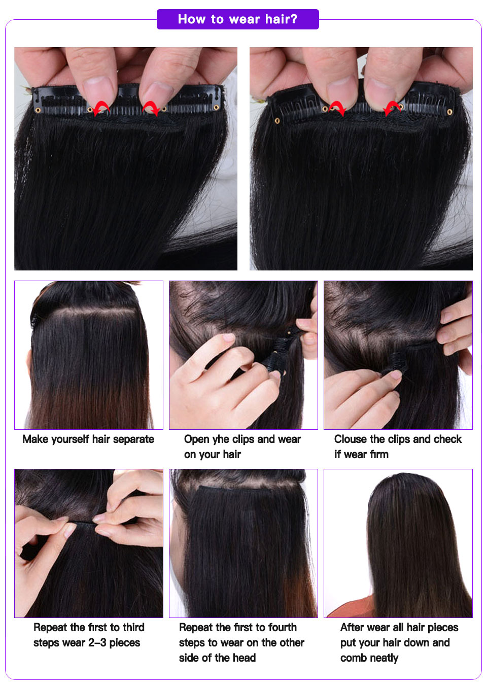 Clip In Human Hair Extensions Machine Made Remy Hair Straight