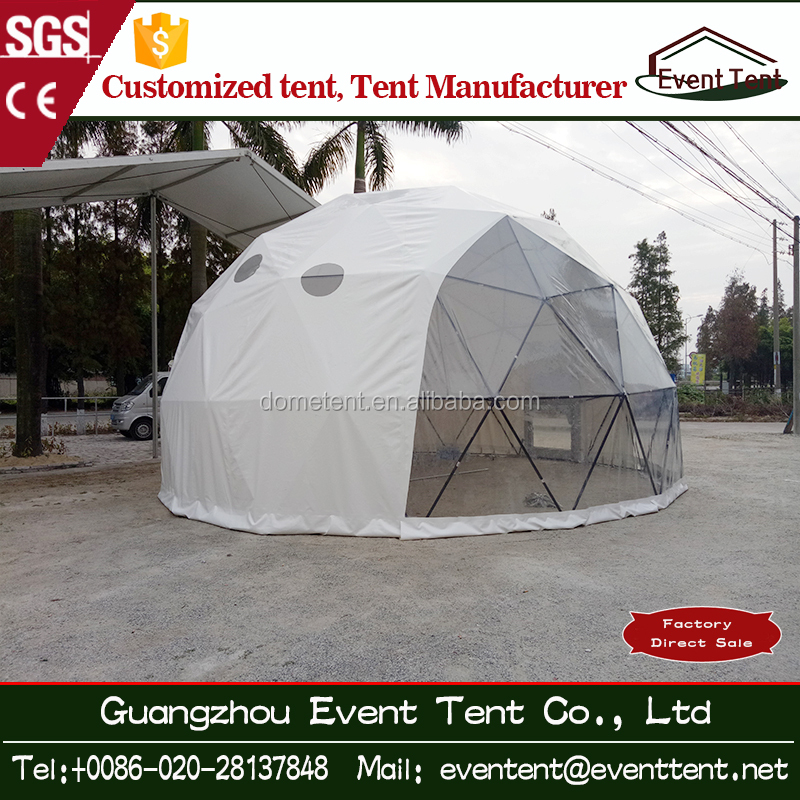 Luxury tent outdoor Resort Tent steel dome house with wooden plate for camping