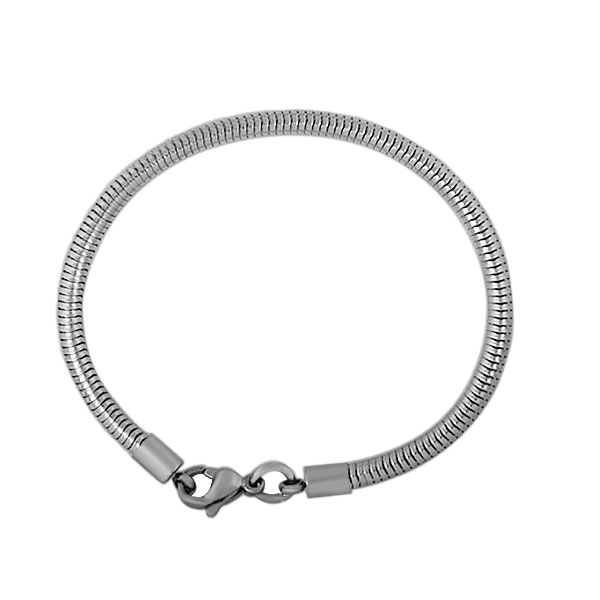 simple style stainless steel lobster clasp round snake chain bracelet