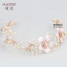 2018 Newest Design Wedding Hair Accessories Handmade Hair Band Jewelry Crystal Prearl Bridal Headpiece for Women