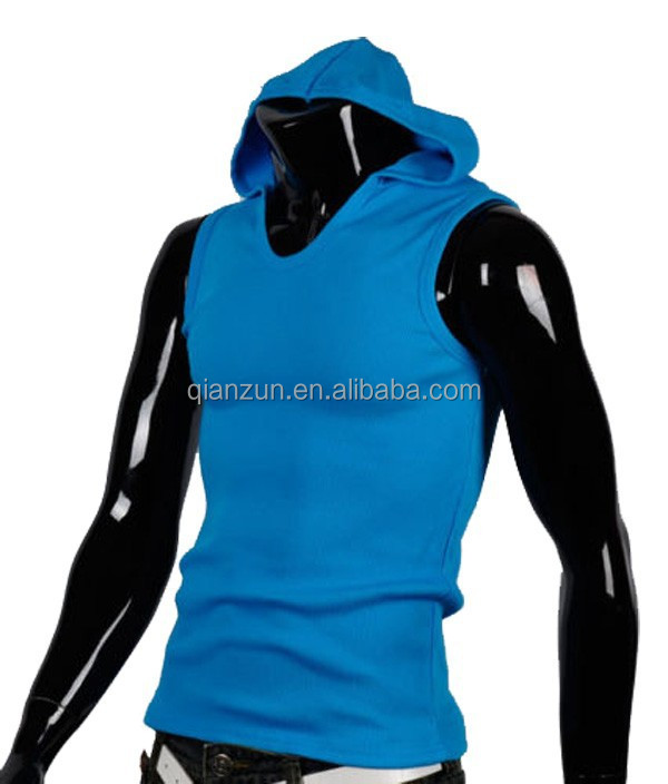 Hot Sell Mens Hooded Gym Hoody Athletic Tank Top Undershirts Vest Sleeveless T-Shirt