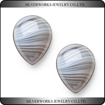 Handmade 925 Sterling Silver Banded Agate Water-Drop Crystal Stud Earrings