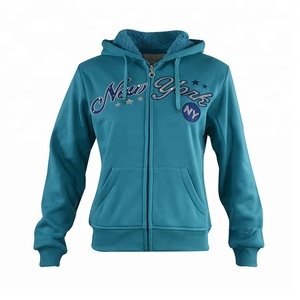 China supply blue zipper women custom sweatshirts hoodies