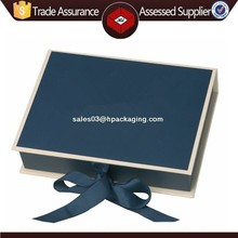 High-end custom wooden photo album box with ribbon tie