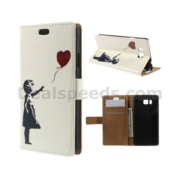 Cute Girl Flying Heart Shaped Balloon Wallet Leather Stand Case for Samsung Galaxy Alpha