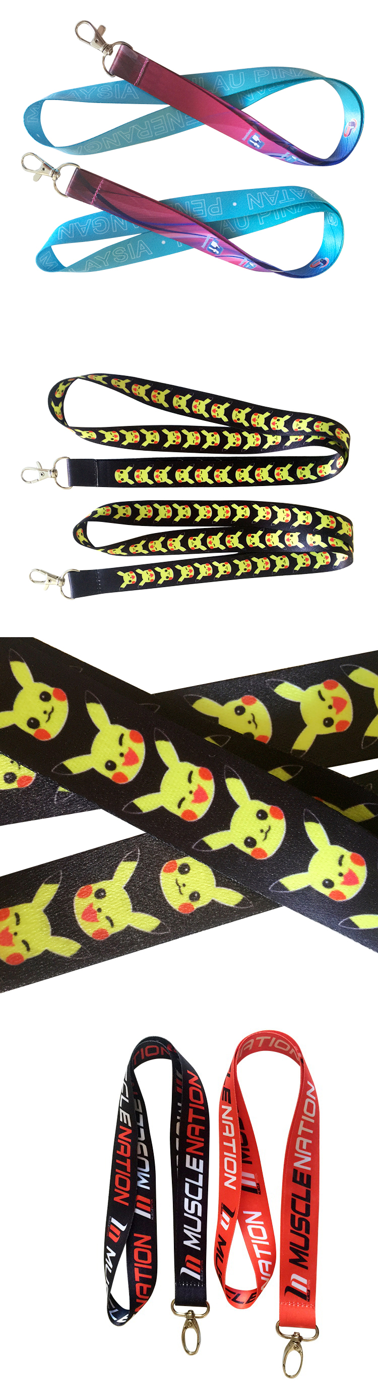 Wholesale sublimation custom CMYK print polyester lanyard