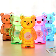 Plastic Bear Power Money Coin Cans Saving Money Transparent Clear Bank Box