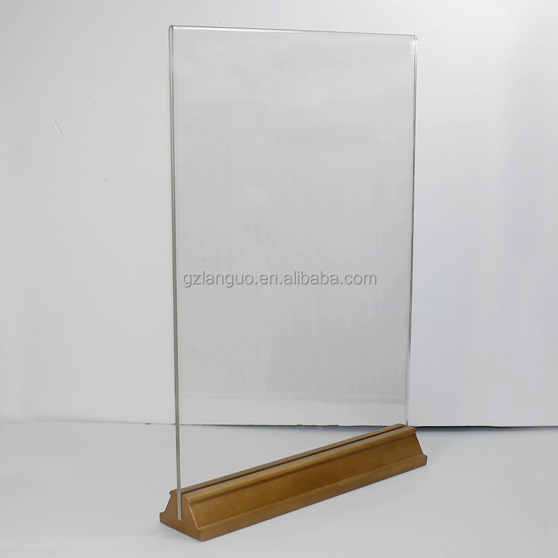 Clear acrylic sign holder with wooden base design for tabletop
