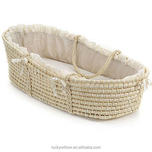 ECO-FRIENDLY Natural Baby Moses Basket with mattress