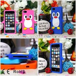 3d back protective silicone penguin skin lovely case cover for Apple IPhone 5