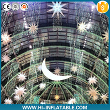 Attractive Ramadan Inflatable moon and stars Ramadan decoration light Hanging LED Star