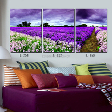 Living Room Wall Decoration Paint Art Pictures 3 Panel Lavender Field Sceneries Huge Canvas Prints