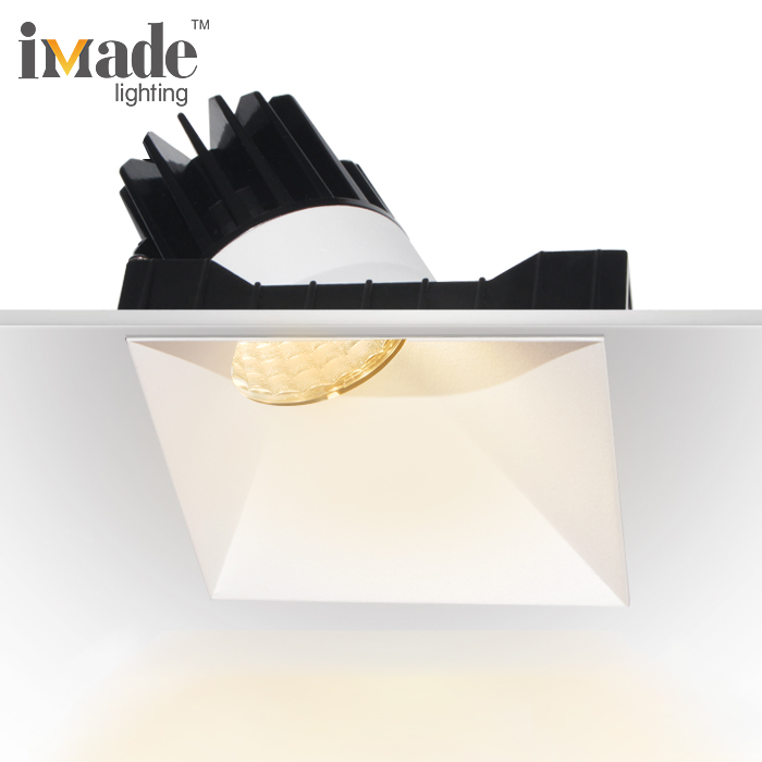 Invisible trim 13w 38w cob dimmable recessed square led downlight retrofit