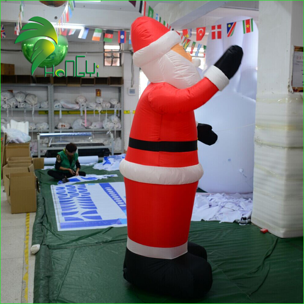Cheap Decoration Oxford Cloth Inflatable Christmas Old Man / Music Control Large Air Xmas Father Santa Claus Figures