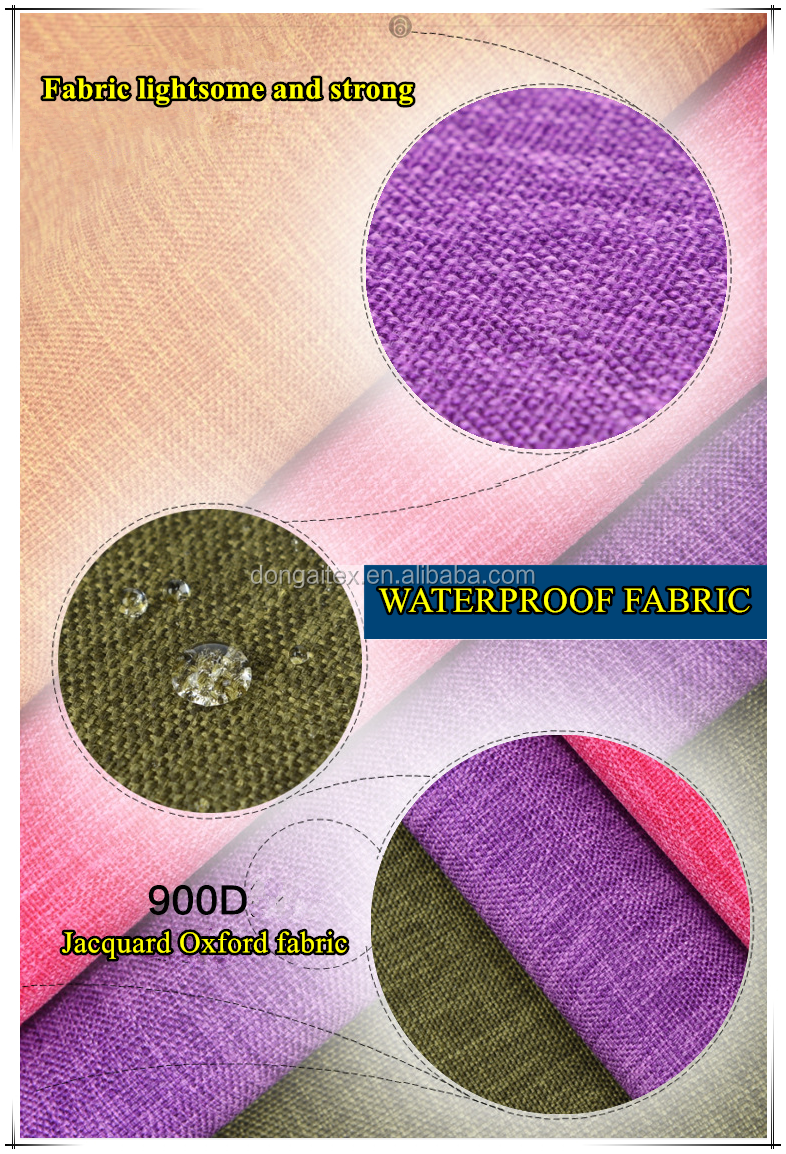 900d polyester waterproof jacquard fabric oxford fabric with PU coated