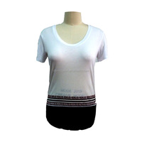 woman fashion short-sleeve custom printed T-shirt 100% cotton fabric