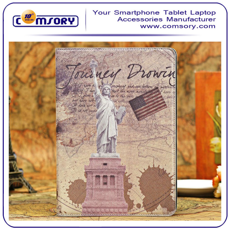 Retro Statue of Liberty Eiffel Tower Dual-Fold Protective Case for the Apple iPad Air / iPad 5