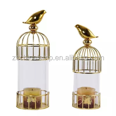 New Customized metal candle holder With Gold Bird Glass metal candle box For candle jars home hotel decor priject house luxuey