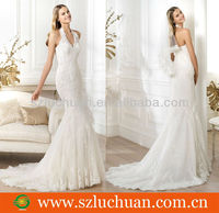 Fashion sexy halter lace german wedding dresses