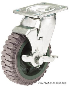 Gray PU Steel Ball Caster Swivel Break Industrial Casters