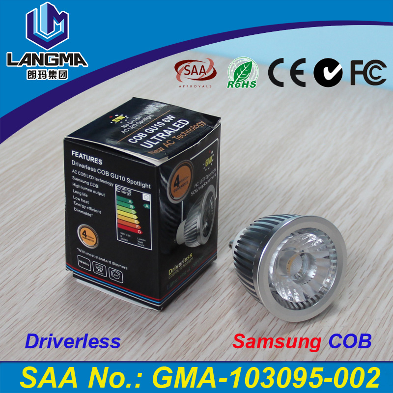 Langma 6W GU10 led spot lamp SAMSUNG AC COB CRI >83Ra 4 Years Warranty AC220-240V Driverless dimmable 6W led cob light