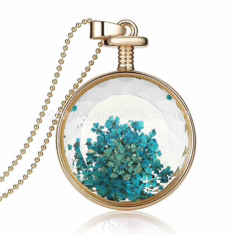 New summer beautiful gold chian vintage dried sun flower glass bottle pendant necklace jewelry