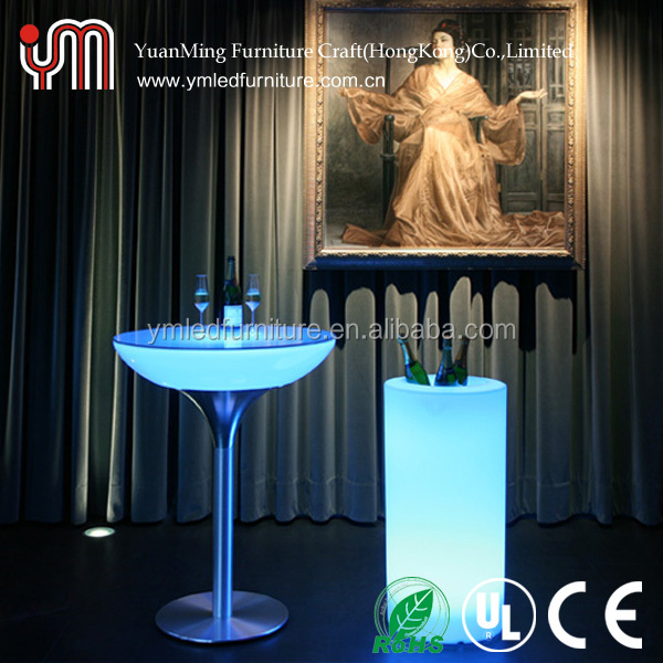 Rechargeable Battery Plastic Bar Table With Light