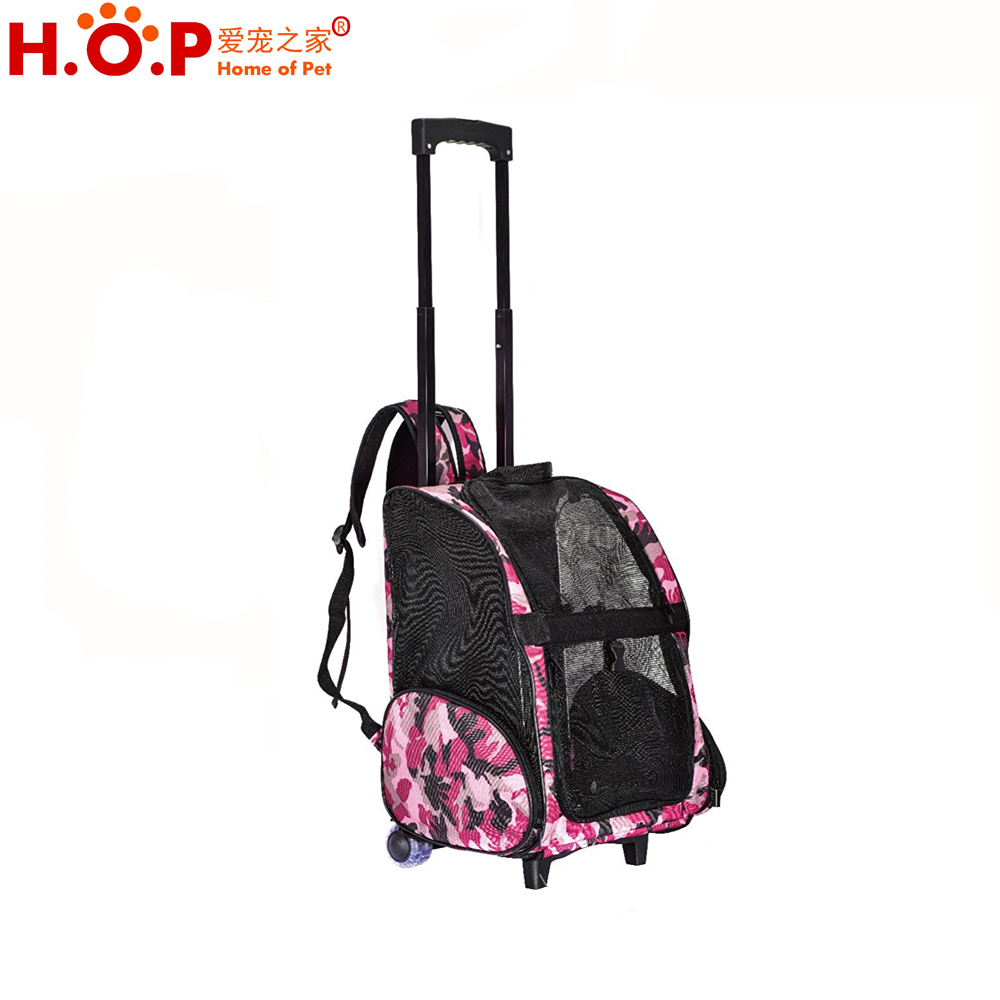 China Wholesale Travel Trolley Pet Bag Dog Carrier on Wheels