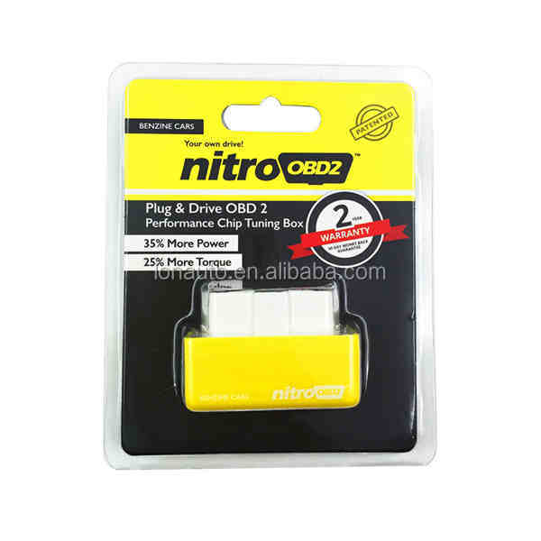 NitroOBD2 Benzine Chip Tuning Box Interface Nitro OBD2 Plug and Drive Yellow Diagnostic-Tool