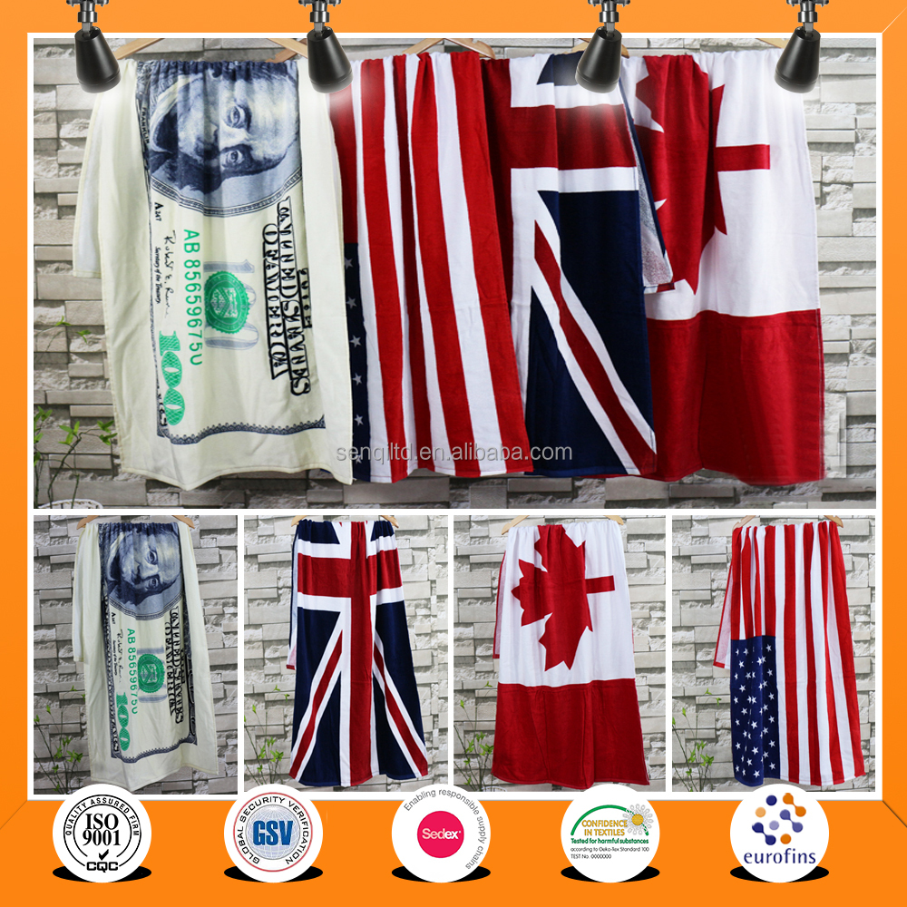 2016 china Promotional 100% Cotton flag Printed Beach Towel Size 70*140CM