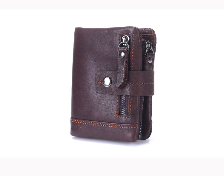 BOSHIHO Handmade Leather Journal Vintage Leather Best Mens Small Card Holder With Zipper Pocket China Wholesale Wallet
