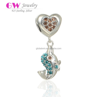 Handmade Sterling Silver Jewelry Dangling Dolphin And Heart Model Paved Micro Zircon Stones Large Hole Silver Bracelet Beads