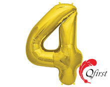 Factory wholesale gold number balloon #4 foil alphabet letter helium globo ballon for party decorations