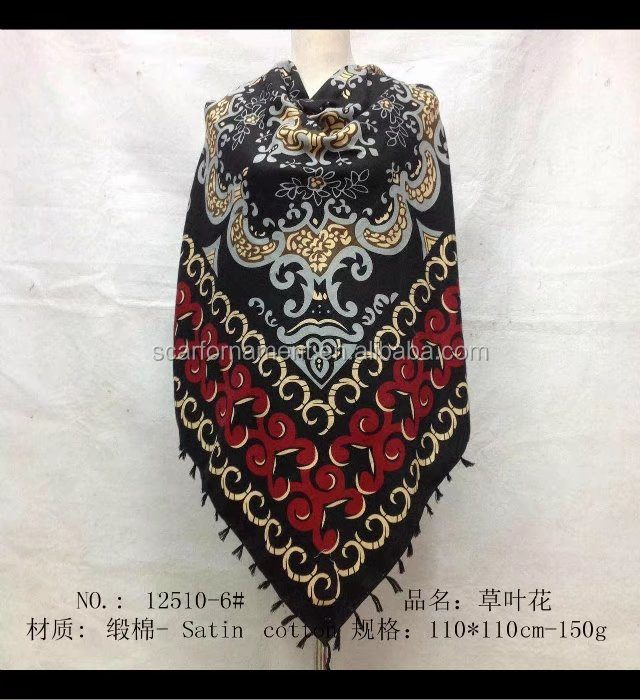 square scarf with fringe fashion scarf 20170820 110*110cm SATIN COTTON scarf
