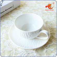 WKT185W bone china plain white coffee cups and saucers