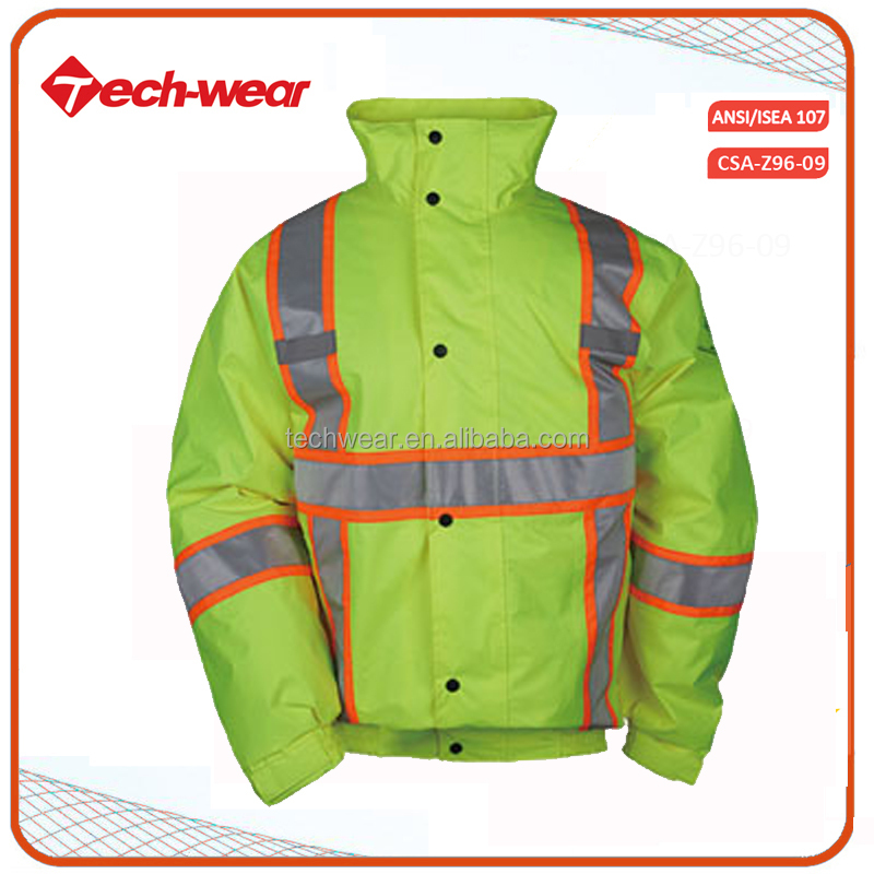 High Visibility new style 3 in 1 reversible rain orange security jacket