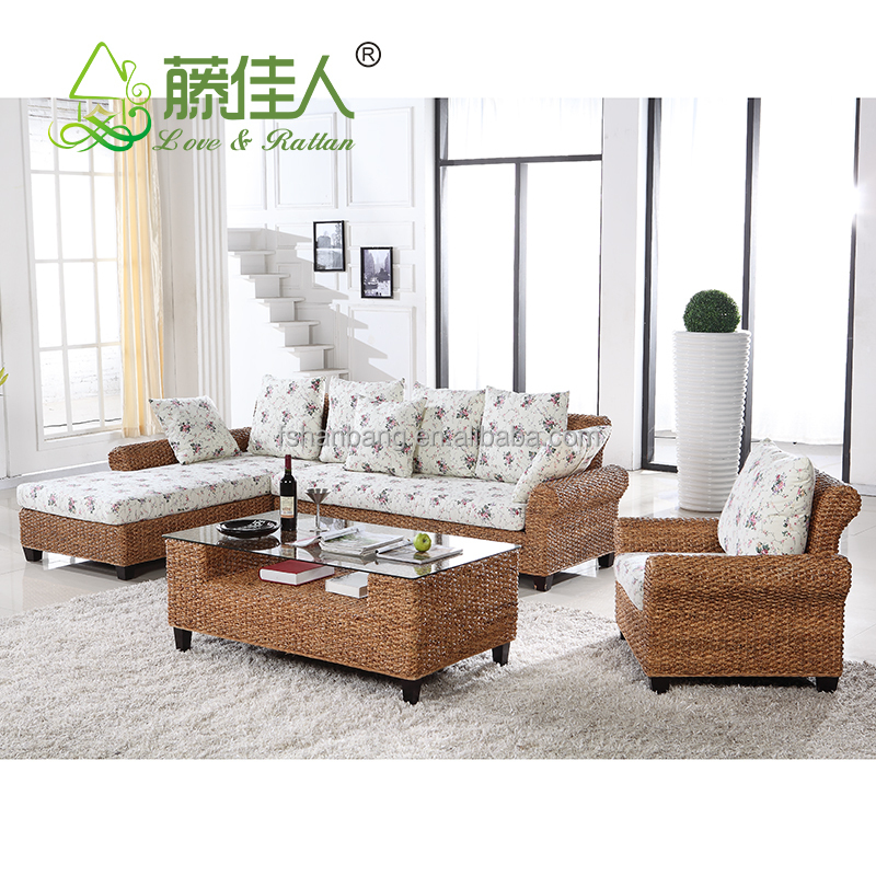 High Quality Modern Luxury Balcony Sunroom Wicker Indoor Natural Rattan Sectional Two Seat Sofa