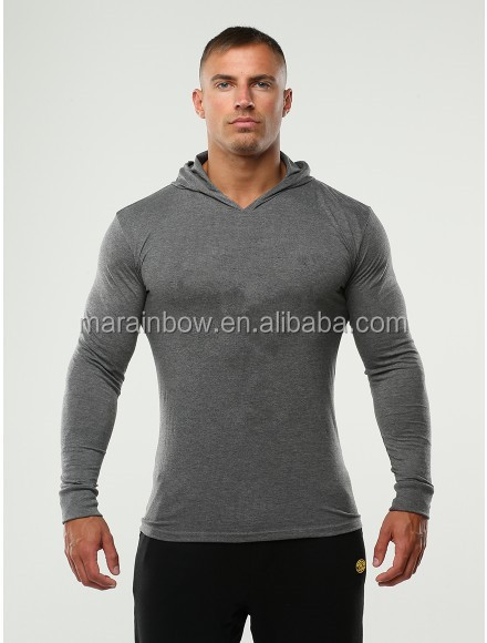 Muscle Bodybuilding Gym Pullover Hoodie for Men Slim Fit Tri-blend Hoodie Plain Heather Grey Marl Workout Hoodie Fitness Wear